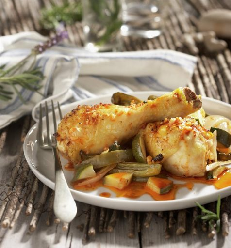 muslitos de pollo con verduras al microondas