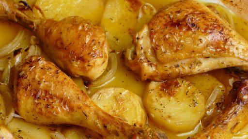 pollo al horno con patatas facil y rapido