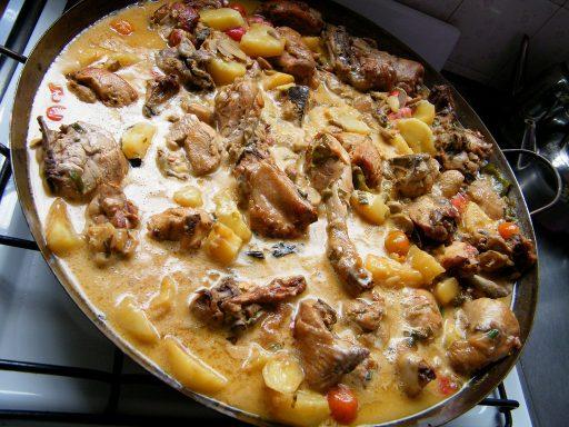 pollo al disco con champiñones receta