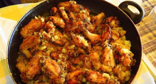 pollo al disco con verduras receta paso a paso